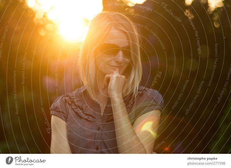 summer evening Feminine Young woman Youth (Young adults) 1 Human being 18 - 30 years Adults Sunrise Sunset Sunlight Summer Beautiful weather Sunglasses Blonde