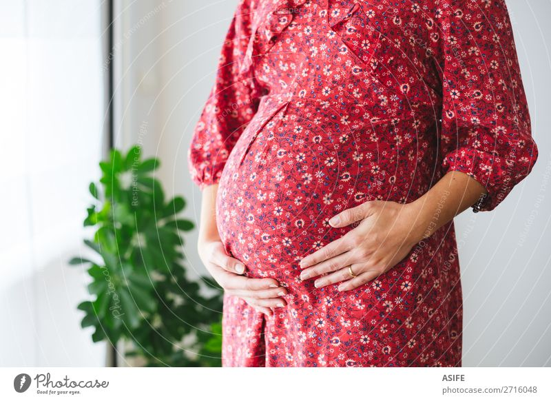 Pregnant woman touching her tummy Happy Body Human being Baby Woman Adults Parents Mother Breasts Arm Hand Plant Flower Dress Touch Love Stand Red Future