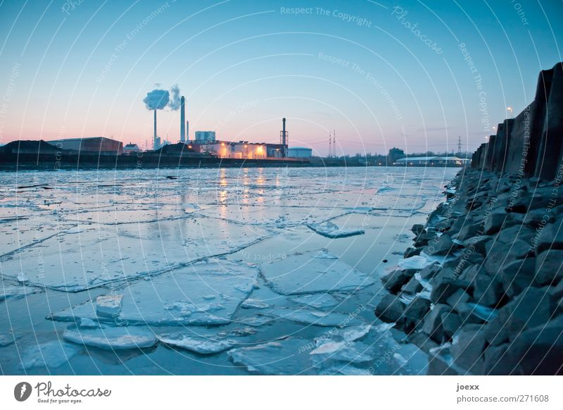 jigsaw Horizon Winter Beautiful weather Ice Frost Deserted Industrial plant Factory Harbour Cold Blue Yellow Pink Black rhine harbour Colour photo Exterior shot