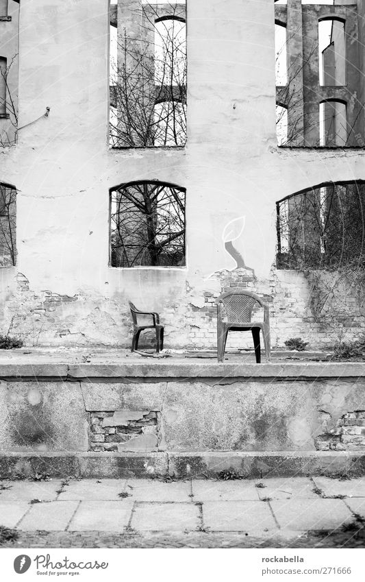 House ruin Overpopulated Deserted House (Residential Structure) Ruin Broken Loneliness Apocalyptic sentiment Uninhabited Black & white photo Exterior shot