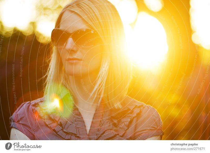 Summer Evening II Sun Feminine Young woman Youth (Young adults) Woman Adults 1 Human being 18 - 30 years Beautiful weather Sunglasses Blonde Esthetic Elegant