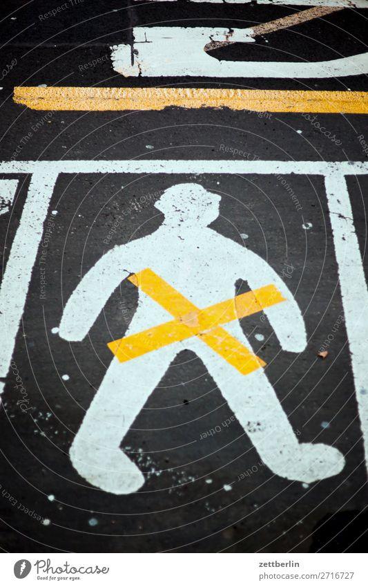 road marking Asphalt Lane markings Signage Warning label Clue Crucifix Line Man Human being Deserted Pictogram Street Copy Space Bans gender gender studies