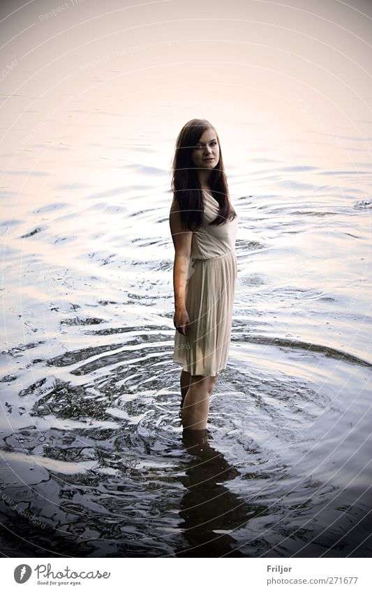 Standing in the Water Human being Feminine Young woman Youth (Young adults) 1 18 - 30 years Adults Dress Brunette Long-haired Colour photo Exterior shot Day