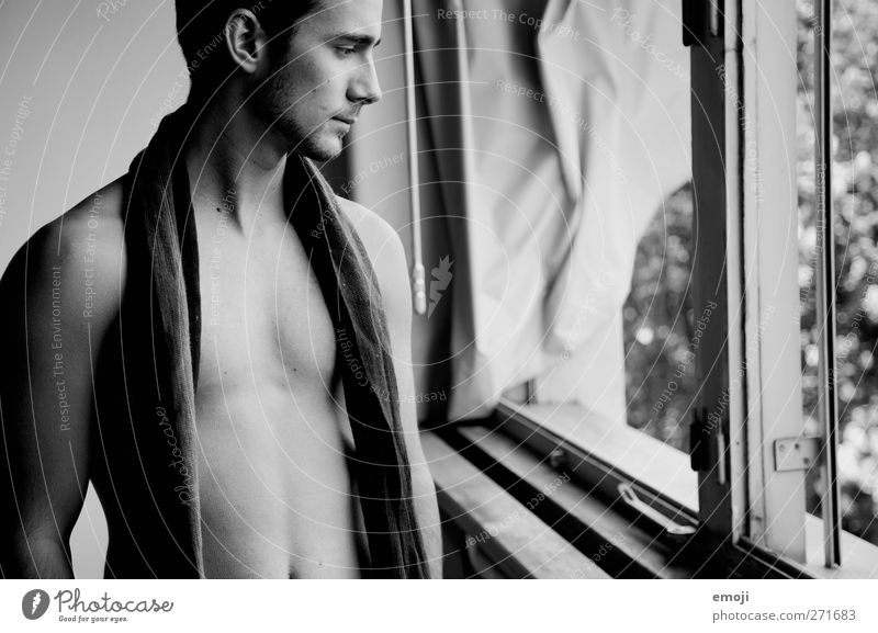 coated Masculine Young man Youth (Young adults) 1 Human being 18 - 30 years Adults Scarf Beautiful Nude photography Naked Black & white photo Interior shot Day