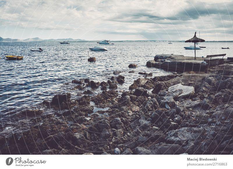 Rocky beach at the coast of Mallorca, Spain. Sky Vacation & Travel Landscape Ocean Relaxation Far-off places Beach Lifestyle Coast Freedom Horizon Retro Waves