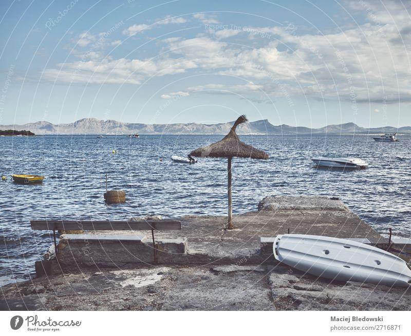 Relax at the coast of Mallorca, Spain. Sky Vacation & Travel Summer Landscape Ocean Relaxation Calm Beach Lifestyle Coast Freedom Horizon Retro Europe Island