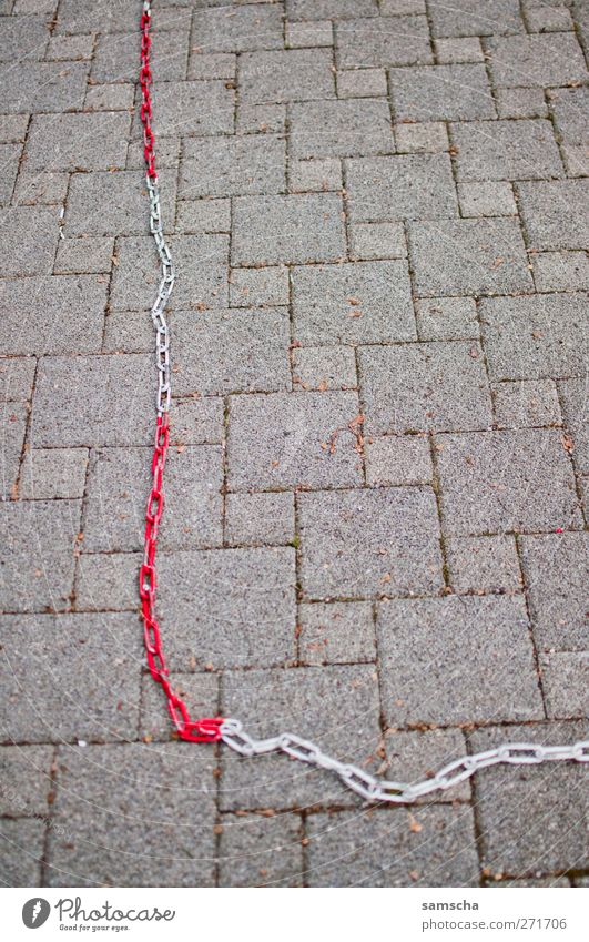 White City Red Freedom Gray Stone Closed Places Transport Safety Firm Contact Chain Barrier Hang