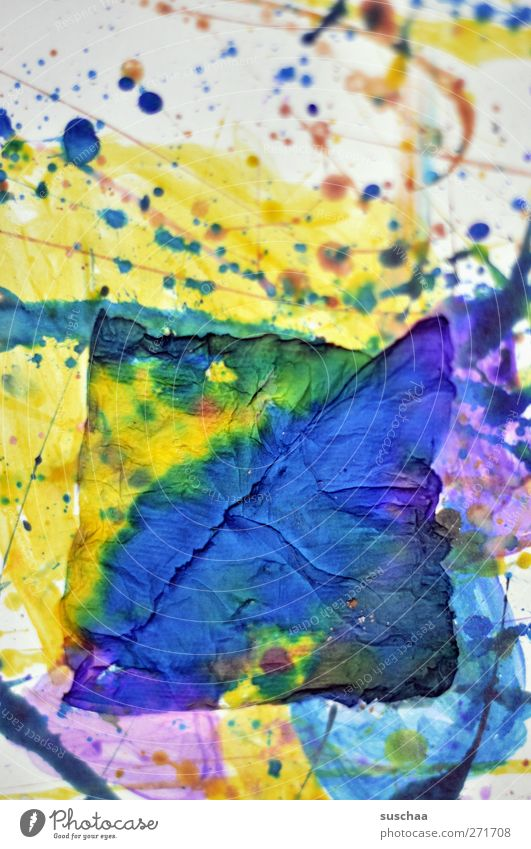 colorflash Art Work of art Painting and drawing (object) Crazy Blue Yellow Violet Paper Patch Structures and shapes Dye Colour photo Multicoloured Close-up