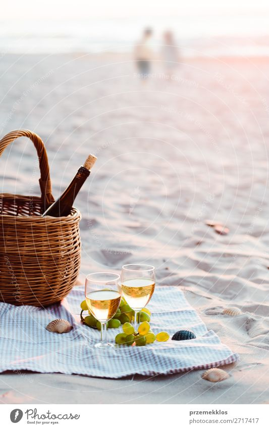Two wine glasses, grapes, wicker basket on beach Human being Sky Vacation & Travel Nature Summer Beautiful White Sun Ocean Relaxation Beach Lifestyle Love Coast