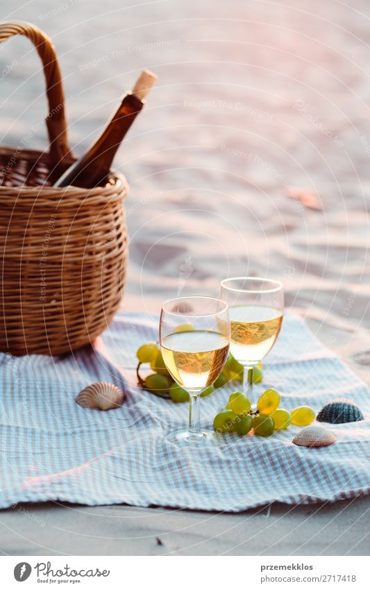 Two wine glasses, grapes, wicker basket on beach Fruit Beverage Alcoholic drinks Wine Champagne Bottle Champagne glass Beautiful Relaxation Vacation & Travel