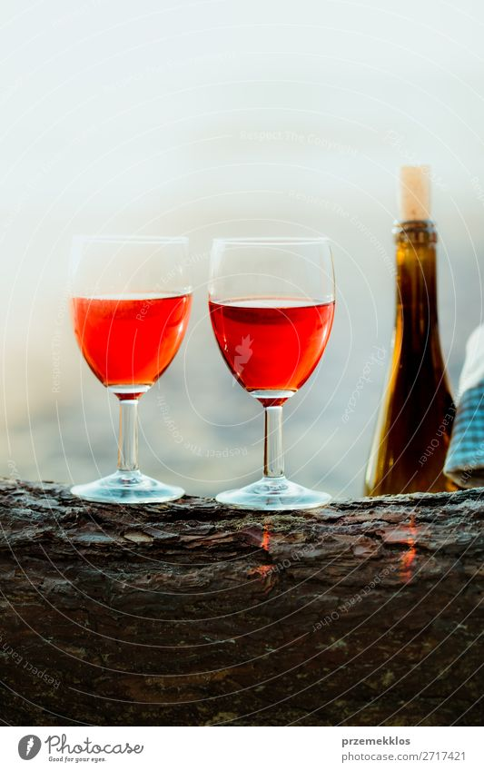Two wine glasses and bottle of wine on beach Beverage Alcoholic drinks Wine Champagne Bottle Champagne glass Beautiful Relaxation Vacation & Travel Summer Sun