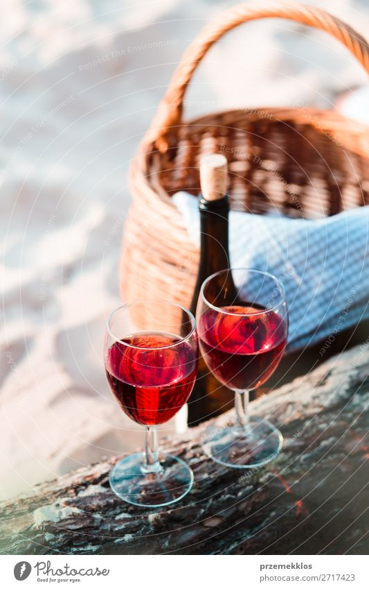 Two wine glasses, wicker basket on beach Beverage Alcoholic drinks Wine Champagne Bottle Champagne glass Beautiful Relaxation Vacation & Travel Summer Sun Beach