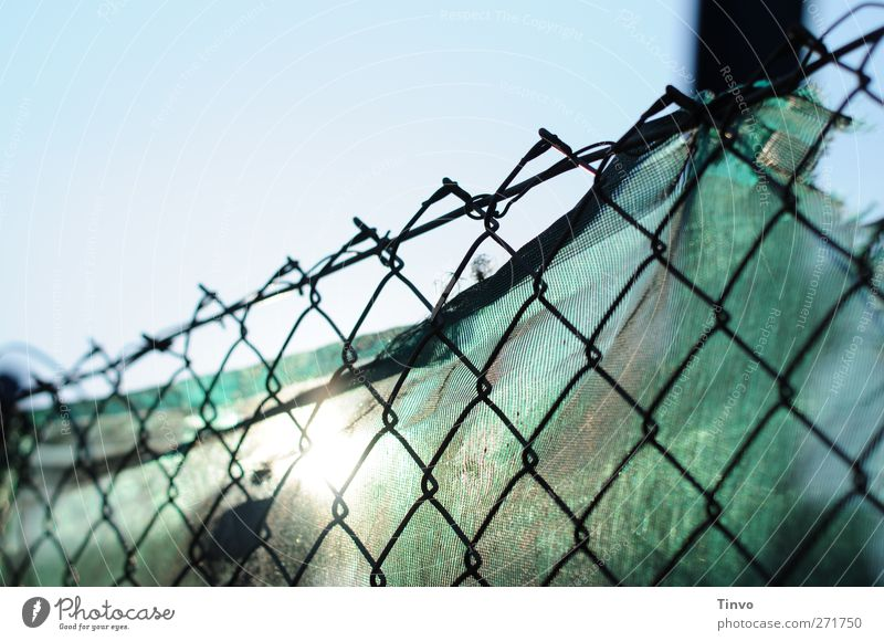 Sun and the city 2 Cloudless sky Beautiful weather Sharp-edged Blue Black Turquoise Wire netting fence Cloth Covers (Construction) Screening protective fence