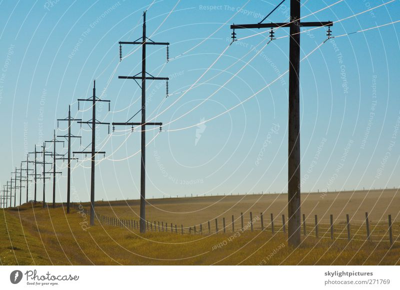 Electric power in the countryside Sky Blue Sun Energy Wire Rural Grid Pylon Hydroelectric  power plant Insulator