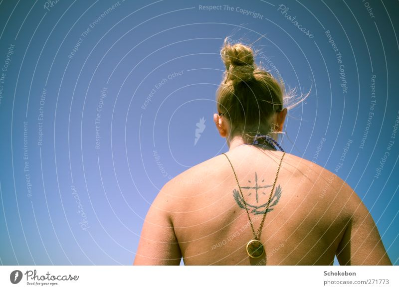 world on my back Summer Masculine Hair and hairstyles Back 1 Human being Cloudless sky Sunlight Beautiful weather Jewellery Tattoo Necklace Blonde Chignon Bird