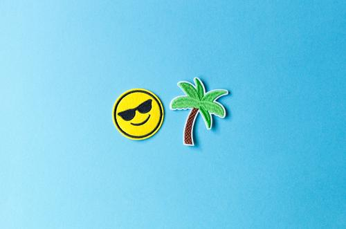 holiday period Vacation & Travel Tourism Far-off places Freedom Summer Summer vacation Beach Ocean Island Palm tree Sunglasses Sign Smiley Happiness Joy Happy