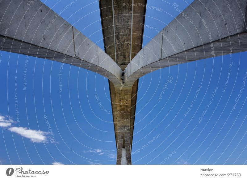 high heels Deserted Bridge Wall (barrier) Wall (building) Street Highway Overpass Blue Gray span Concrete Clouds Sky stoma Colour photo Exterior shot