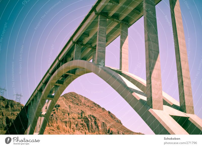 bridge.04 Vacation & Travel Trip Adventure Freedom Sightseeing Summer Architecture Landscape Earth Sand Cloudless sky Rock Mountain Bridge Manmade structures