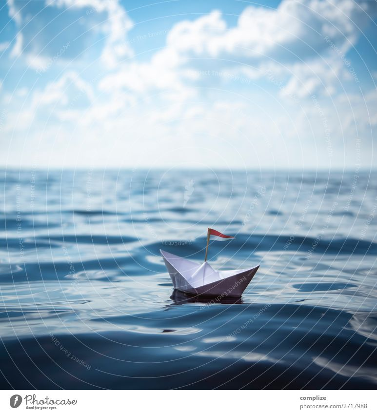 small paper ship on the sea Joy Healthy Handicraft Model-making Vacation & Travel Tourism Far-off places Freedom Cruise Summer Summer vacation Sun Sunbathing