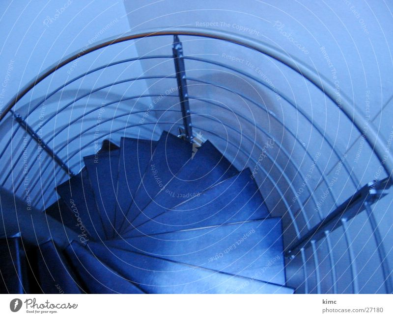 Blue Architecture Stairs Handrail Winding staircase