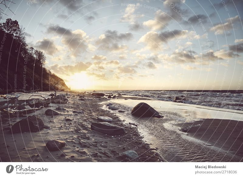 View of a scenic beach at sunset. Sky Vacation & Travel Landscape Ocean Relaxation Calm Beach Coast Freedom Sand Trip Horizon Retro Europe Island