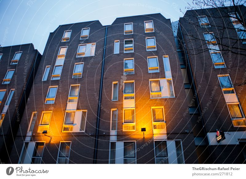 dutch house Town House (Residential Structure) High-rise Facade Window Door Esthetic Blue Brown Yellow Gold Orange Black Amsterdam Lighting Heaven Tall
