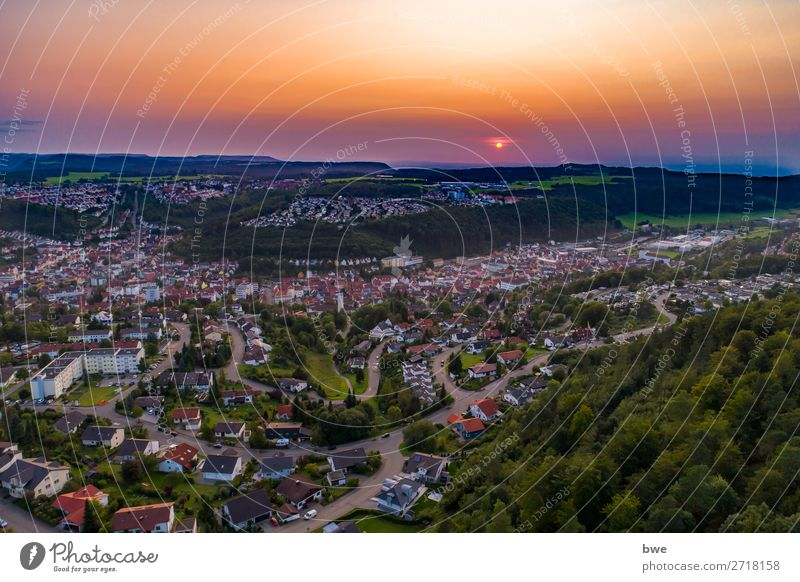 Sunset Swabian Alb Environment Nature Landscape Sky Sunrise Summer Beautiful weather Albstadt Germany Village Town Outskirts Populated