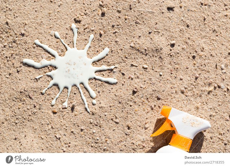 Sun cream spray bottle and sun from sun milk in the sand Cream Suntan lotion Healthy Summer vacation Sunbathing Beach Sand Beautiful weather Yellow White