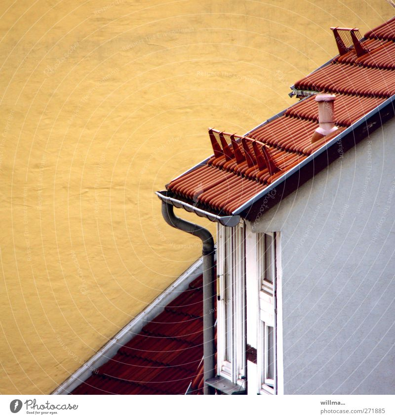 sloping roof House (Residential Structure) Detached house Building Wall (building) Roof Eaves Tiled roof Roofing tile Yellow Red Diagonal Tilt Copy Space left