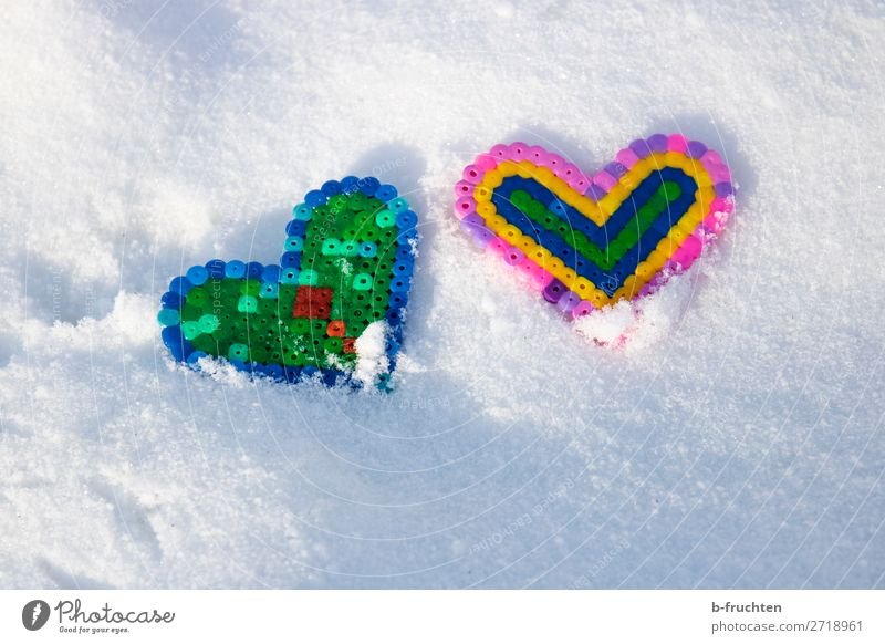 Two hearts in the snow Winter Snow Ice Frost Toys Decoration Kitsch Odds and ends Sign Heart Discover Lie Happiness Fresh Multicoloured Together Love Friendship