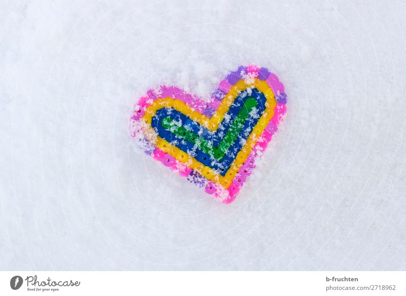 Heart in the snow Winter Snow Toys Love Lie Funny Multicoloured White Sympathy Infatuation beads Snowflake Ice Cold Heart-shaped Structures and shapes