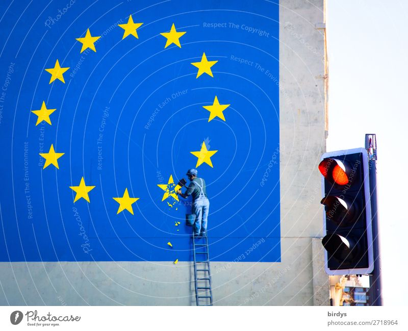 Human being Blue Red Graffiti Yellow Art Facade Work and employment Masculine Europe Authentic Threat Sign Might Fear of the future Stop