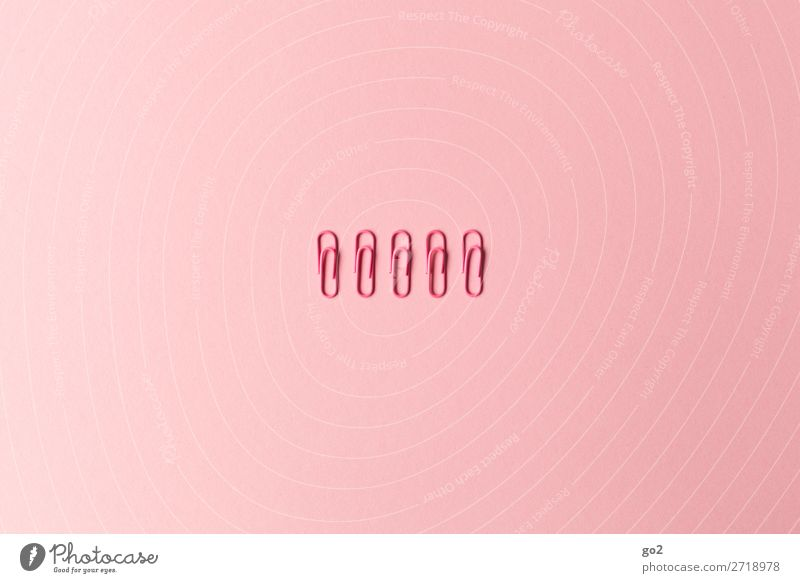 Pink Office Arrangement Esthetic Stationery Office work Precision Accuracy Disciplined Orderliness Paper clip