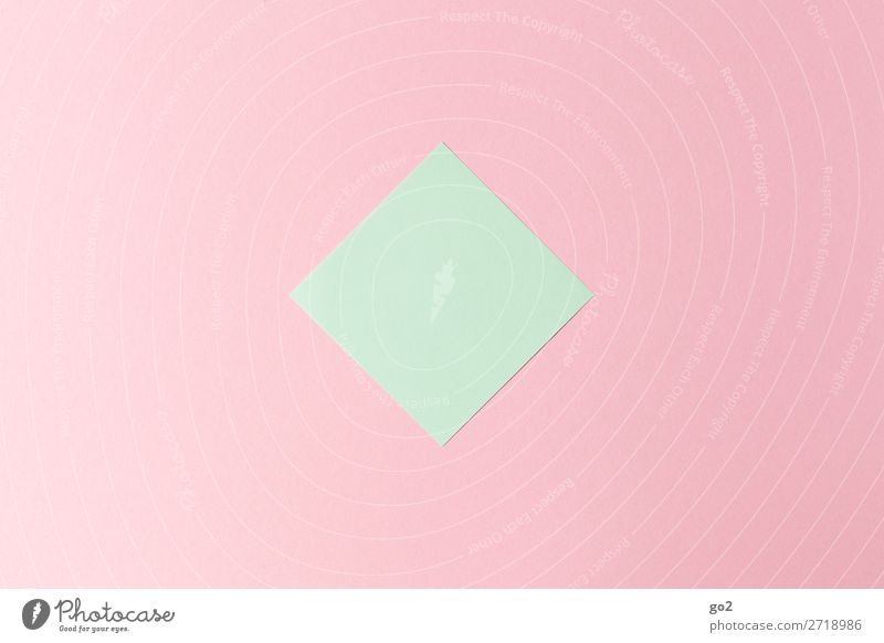 Green note on pink Office work Stationery Paper Piece of paper Esthetic Simple Pink Design Colour Accuracy Idea Inspiration Creativity Arrangement Precision