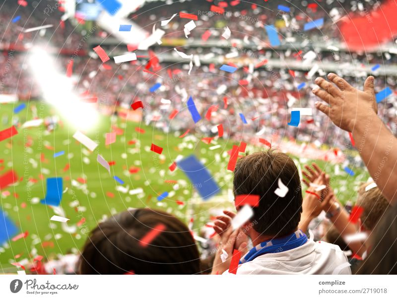 Sports Happy Party Group Leisure and hobbies Success Soccer Foot ball Sports team Audience Enthusiasm Crowd of people Sporting event Sportsperson Confetti