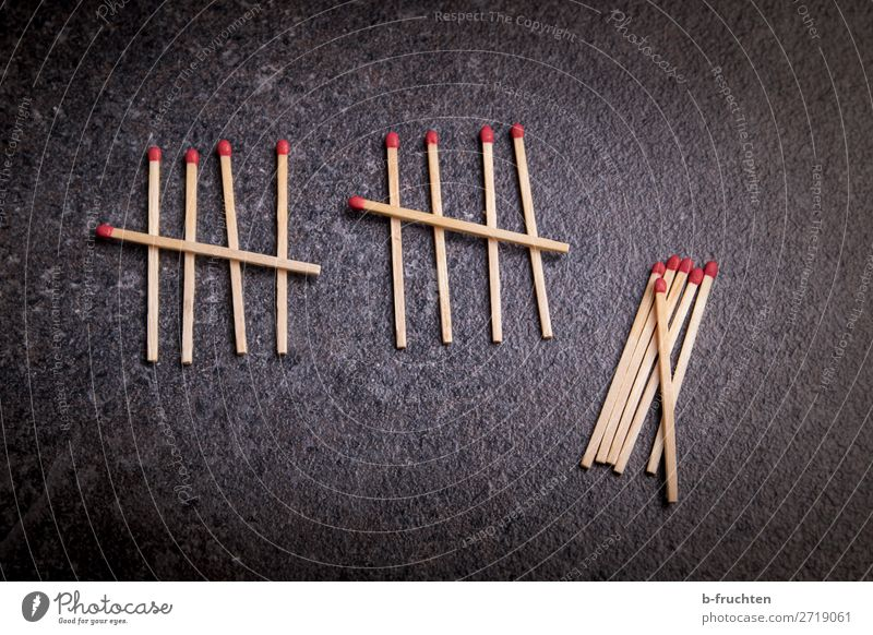 matches Wood Sign Digits and numbers Select Utilize Lie 10 5 Numbers School Dark Colour photo Interior shot Close-up Deserted