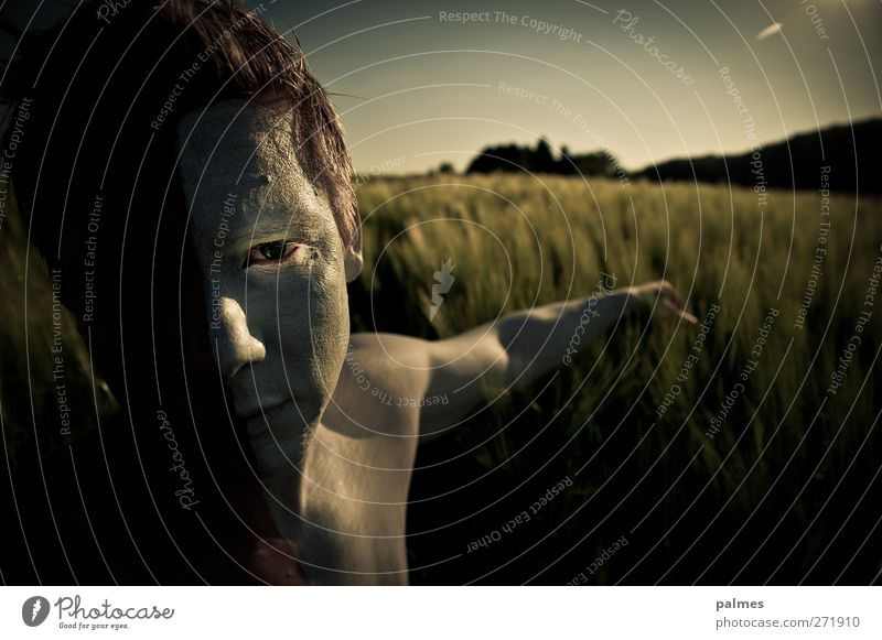 Enchant the harvest ... Grain field Man Adults Eyes Arm 1 Human being Nature Landscape Summer Beautiful weather Touch Muscular Naked Natural White Hide Dye