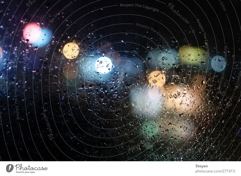 wet window with drops and lights City Summer Water Window Cold Environment Street Autumn Spring Building Art Rain Transport Glass Energy Drops of water