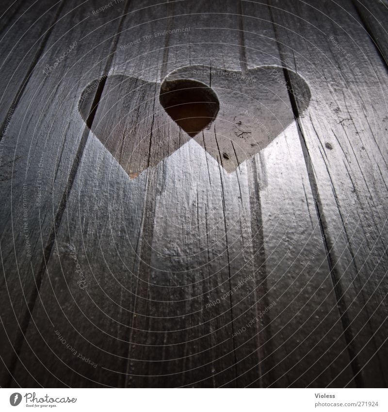 Hiddensee love it..... Wood Sign Heart Love Hip & trendy Happy Attachment Wooden board double-hearted Double exposure Colour photo Exterior shot Experimental