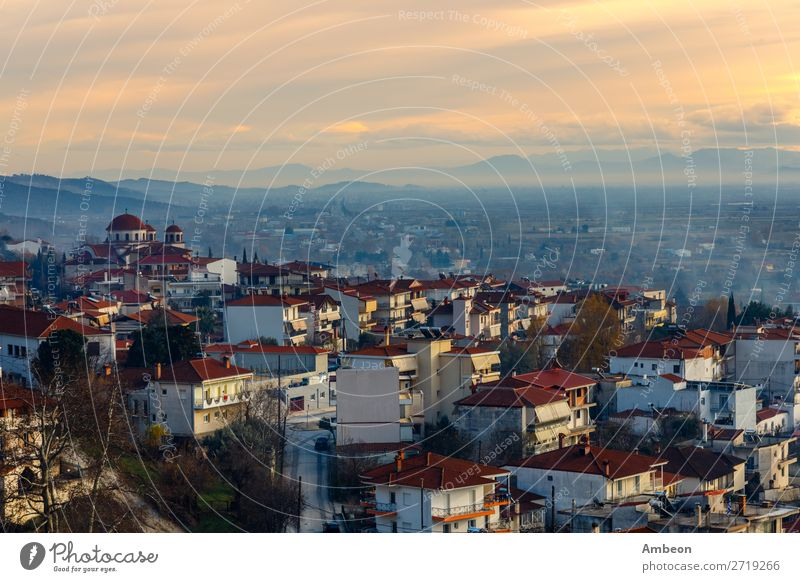 Greek town evening panorama with red roof houses, Kalabaka, Thessaly, Greece autumn beautiful building church cityscape clouds cloudy country countryside day