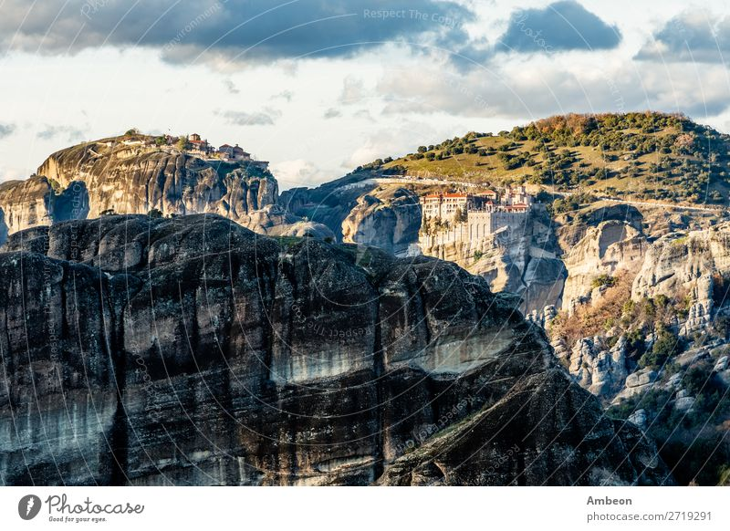 Varlaam and Grand Meteora monasteries, built on the rocks, mountain landscape, Meteors, Trikala, Thessaly, Greece abbey architecture beautiful christian church