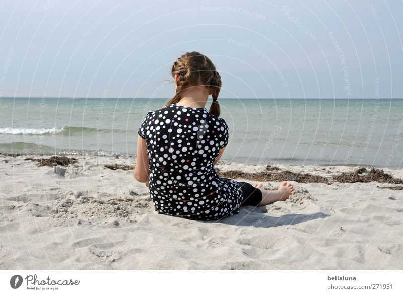Human being Child Sky Nature Water Ocean Girl Beach Feminine Life Coast Hair and hairstyles Head Sand Body Waves