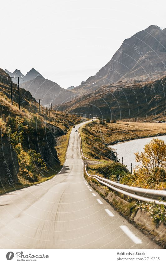 Narrow road in mountains Street Mountain Lake Lanes & trails Trip Highway Nature Landscape Water Autumn Sky Vantage point Majestic Calm Peaceful Clear Idyll