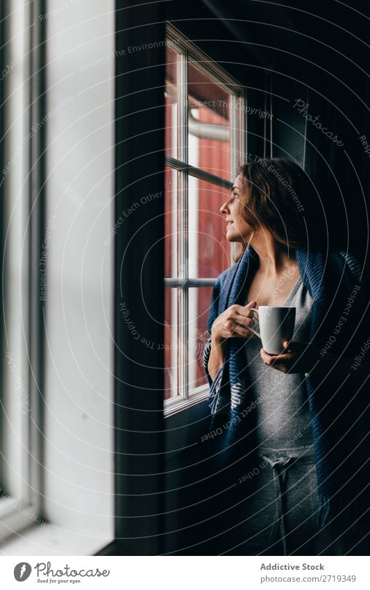 Woman with mug near window Coffee Window Morning Human being Mug Tea Drinking Beautiful pretty Attractive Relaxation Rest Leisure and hobbies Beverage enjoying