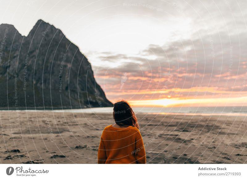 Woman enjoying dawn Dawn Bay Hill Nature Ocean Vacation & Travel Sky