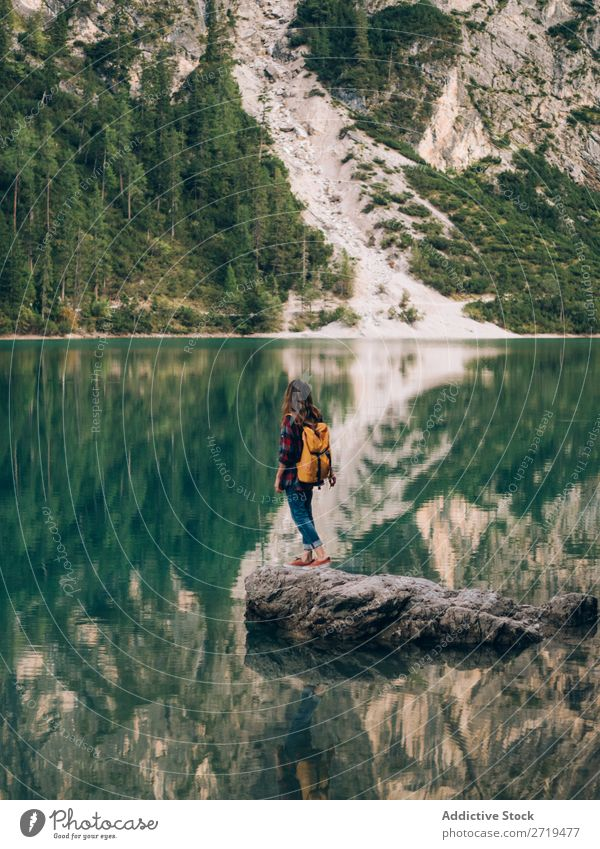 Woman with backpack in nature backpacker Mountain Vacation & Travel Hiking Trip Nature Adventure trekking Landscape Freedom Extreme explore Sports Tourist