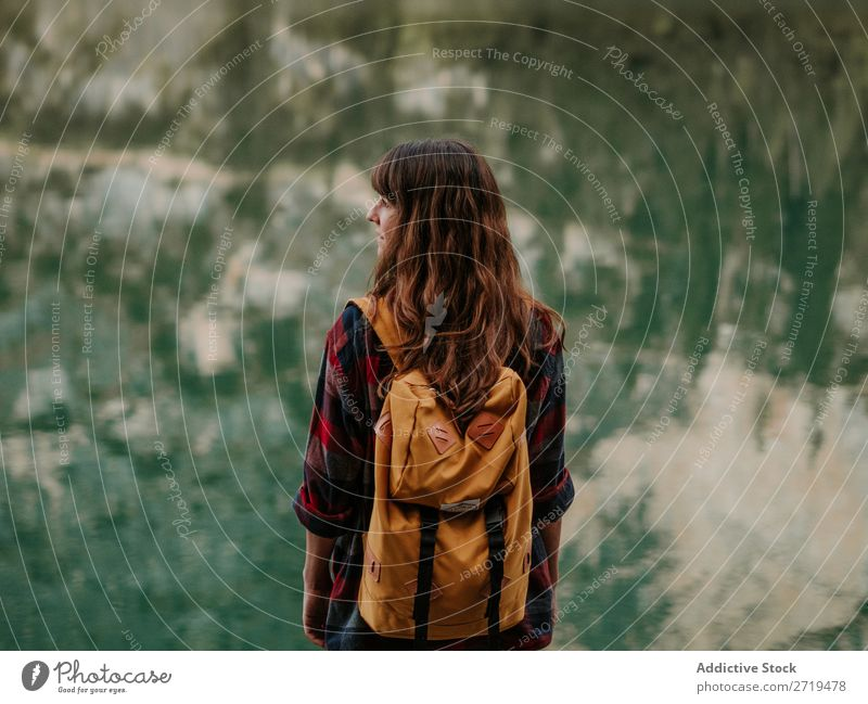 Woman with backpack in nature Mountain Vacation & Travel Hiking Trip Nature Adventure Landscape