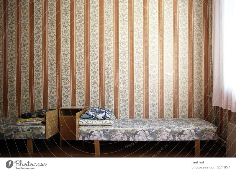 live better Interior design Decoration Furniture Bed Wallpaper Room Wall (barrier) Wall (building) Window Sleep Broken Gloomy Brown Yellow Gray White
