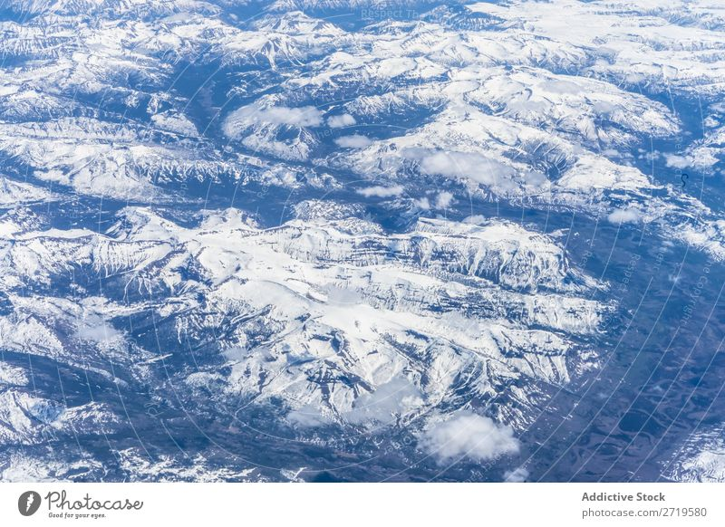 Mountain range in snow Range Aircraft Snow Landscape Vantage point scenery quad copter Mountaineering Panorama (Format) Remote Drone Tourism Winter Natural