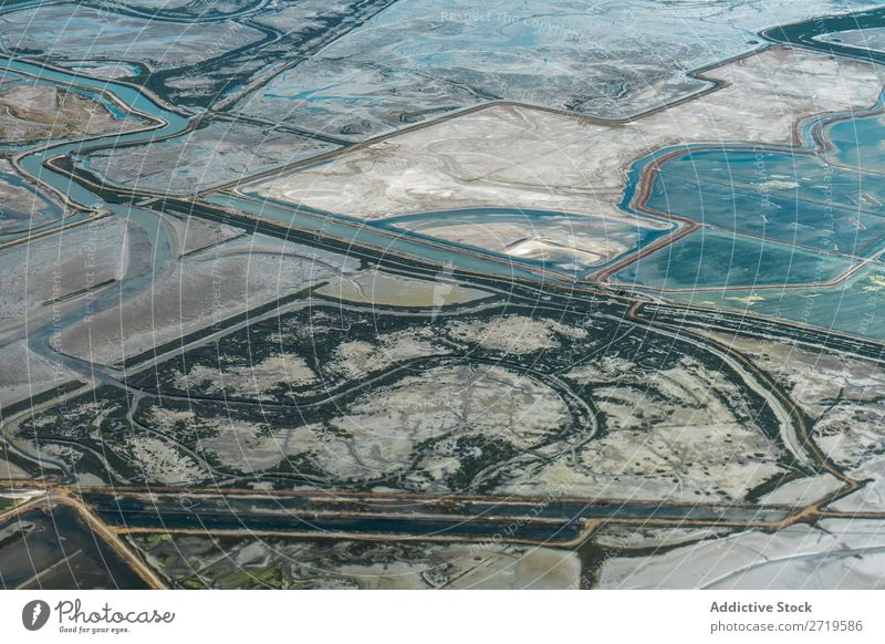 Aerial view of landscape with river Landscape Pattern Aircraft Multicoloured Ground Consistency Countries Background picture Vantage point Field Nature Summer